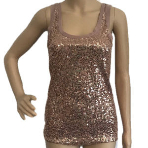 4/$25 J Crew Scattered Sequin Tank Top Pink XS